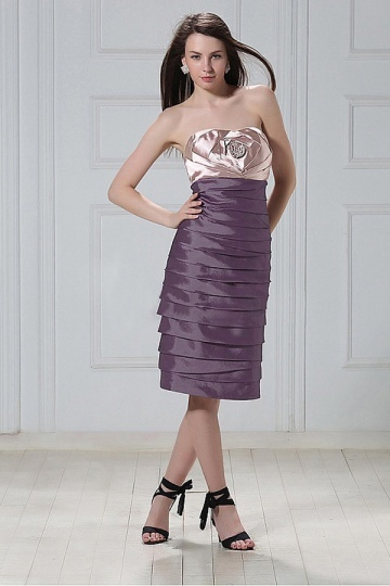 Dressesmall Stylish Stretch Satin&Taffeta Sheath Sweetheart Neckline Tiered Flower Knee Length Mother of the Bride Dress