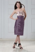 Stylish Stretch Satin&Taffeta Sheath Sweetheart Neckline Tiered Flower Knee Length Mother of the Bride Dress