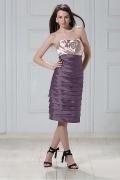 Stylish Stretch Satin&Taffeta Sheath Sweetheart Neckline Tiered Flower Knee Length Mother of the Bride Dress