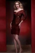 Sexy Knielanges rotes  Etui-Linie Abendkleider aus Taft