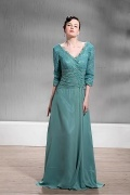 Fabulous Lace&Chiffon A line V Neck Floor Length Mother of the Bride Dress