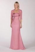 Vestido mãe de noivo  decote emn coração Sem alça decorado de jóias em Chiffon