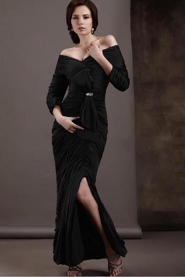 Vestido mãe de noiva com manga ombro aberto pregueado frente lateral