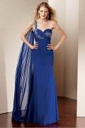 Vestido noite azul decote em coração com uma alça decorado de jóias e pregueado