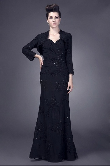 Dressesmall Junoesque Chiffon Sheath 3/4 Long Sleeve Length Floor Mother of the Bride Dress With Beaded Lace Appliques