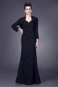 Junoesque Chiffon Sheath 3/4 Long Sleeve Length Floor Mother of the Bride Dress With Beaded Lace Appliques