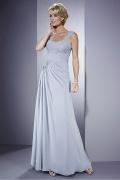 Vestido mãe de noivo decote em coração com alça linha A em Chiffon