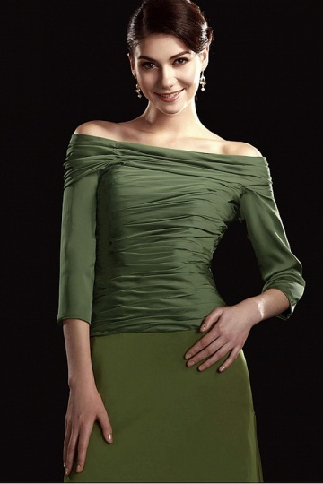 Dressesmall Fabulous Charmeuse&Chiffon A line Off the shoulder Neckline Floor Length Mother of the Bride Dress