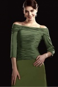 Fabulous Charmeuse&Chiffon A Line Off the Shoulder Neckline Floor Length Mother of the Bride Dress