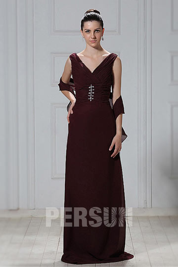 Dressesmall Fantastic Chiffon Sheath V neck Floor Length Sleeveless Mother of the Bride Dress With Shawl