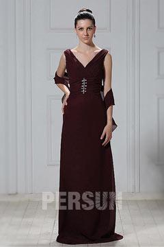 Elégante robe longue décolleté en V fourreau en mousseline
