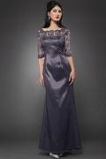 Elegantes A-Linie Bodenlanges Taft Abendkleider mit Ärmeln