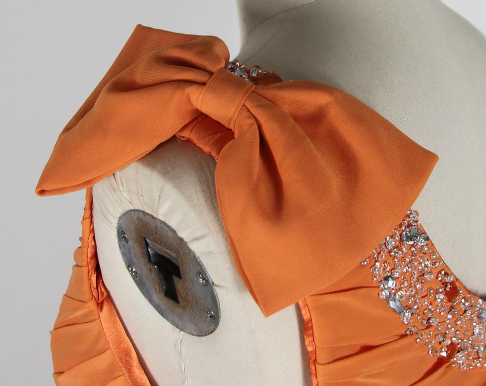 orange chiffon one shoulder mother of the bride dress shoulder design