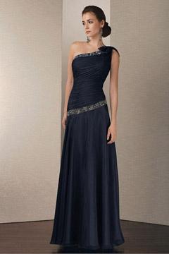 Tamworth Elegant One shoulder Chiffon Mother Gown with Rhinestones