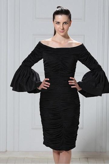 Dressesmall Elegant Taffeta Sheath Column Off the Shoulder Knee Length Mother of the Bride Dress
