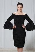 Elegant Taffeta Sheath Column Off the Shoulder Knee Length Mother of the Bride Dress
