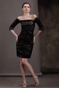 Knielanges Etui-Linie schwarzes Abendkleider aus Spitze