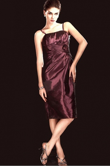 Dressesmall Delicated Taffeta Sheath Spaghetti Strap Flower Knee Length Mother of the Bride Dress