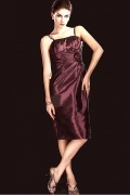 Delicated Taffeta Sheath Spaghetti Strap Flower Knee Length Mother of the Bride Dress