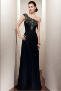 Stylish Chiffon A Line One Shoulder Full Length Black Mother of the Bride Dress