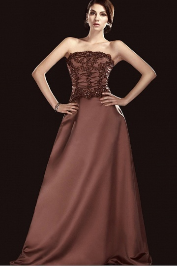Dressesmall Fabulous Satin A line Strapless Sweep Brush Train Lace Appliques Mother of the Bride Dress With Beadings and Sequins.