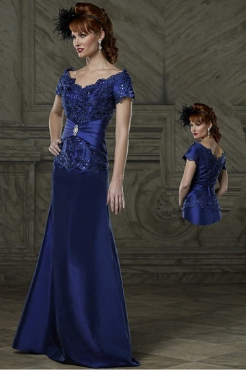 Dressesmall Junoesque A line Off the shoulder Neckline Full Length Stretch Satin Mother of the Bride Dress