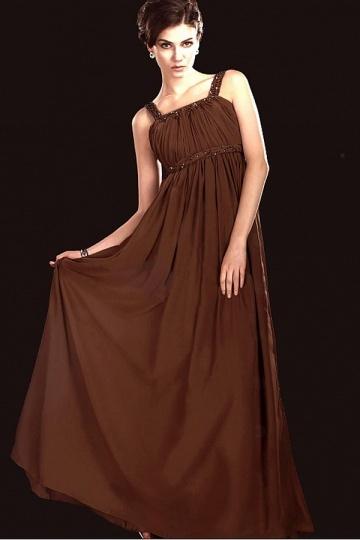 Dressesmall Elegant Chiffon Sheath Column Spaghetti Strap Empire Waist Floor Length Mother of the Bride Dress