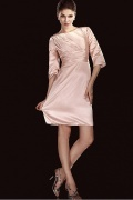 Stretch Satin Sheath Bateau Sleeved Knee length Mother Of The Bride Dress