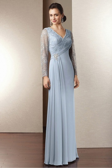 Vestido de mãe de noiva decote em V com manga longo decorado de jóias