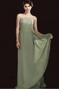 Elegant Lace&Chiffon A line Strapless Floor length Mother of Bride Dress