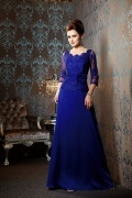 Unique Scalloped Neckline Sleeved Mother of the Bride Dress