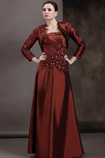 Dressesmall Attractive Taffeta Strapless With Sequins Floor Length Mother of the Bride Dress