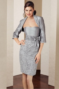 Modern Taffeta Sheath Strapless Knee length Mother of the Bride Dress With Jacket