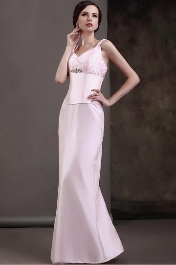 Dressesmall Fabulous Lace&Satin Mermaid Spaghetti Straps Beaded Floor Length Mother of the Bride Dress