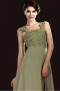 Gorgeous Over Lace&Chiffon A Line Square Neckline Floor Length Mother of Bride Dress