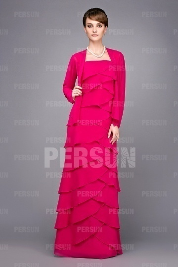 Dressesmall Elegant Floor Length Pink Tone Tiers Mother of the Bride Dress With Jacket