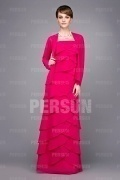 Elegant Floor Length Pink Tone Tiers Mother of the Bride Dress with Jacket