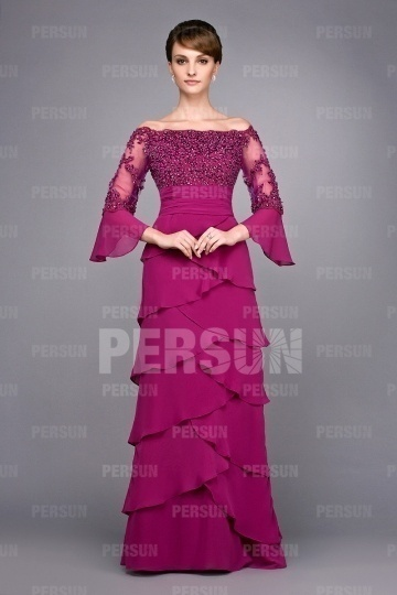 Dressesmall Chic Sequin Long Sleeve Floor Length Mother of the Bride Dress