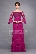 Chic Sequin Long Sleeve Floor Length Mother of the Bride Dress