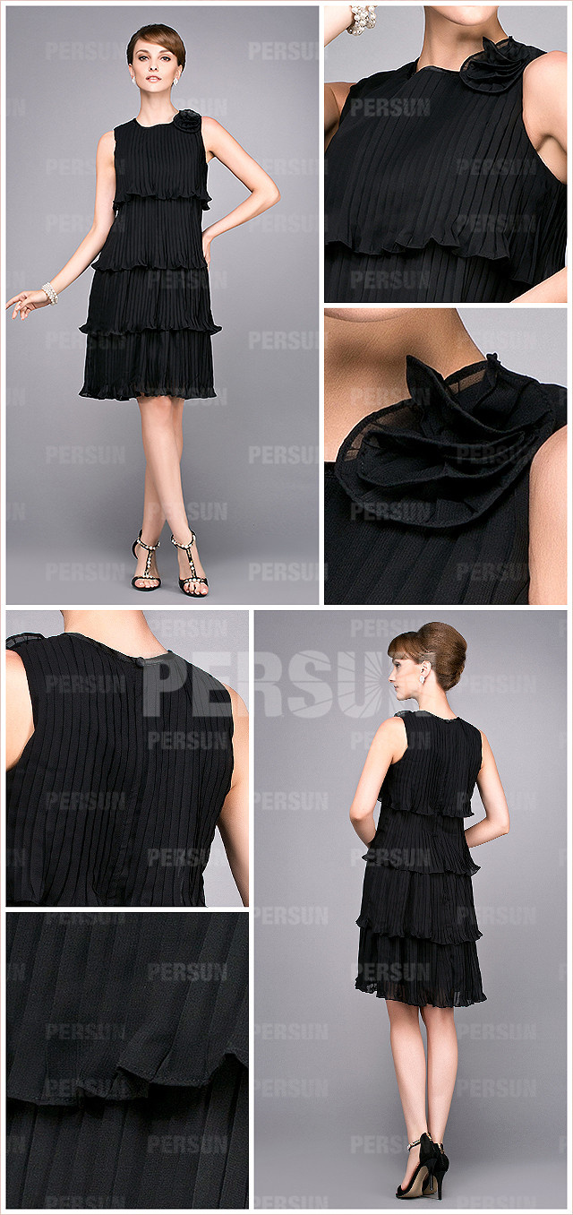 Tiers balck short formal dress in pleated chiffon details