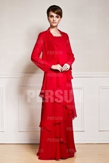 Dressesmall Gorgeous Red Chiffon Tiers Floor Length Mother of the Bride Dress With Jacket
