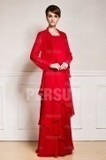 Gorgeous Red Chiffon Tiers Floor Length Mother of the Bride Dress With Jacket