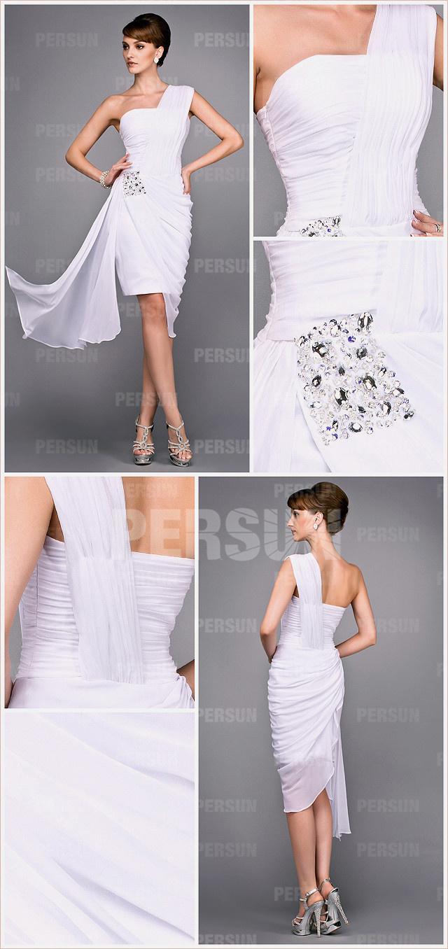 White one shoulder knee length ruched short formal dress details
