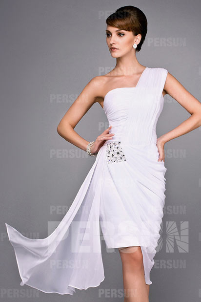 Elegant sheath One shoulder Knee length Ruched Evening Dress