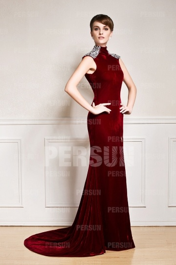 Modern High Neck Velvet Court Train Red Evening Dress Uk