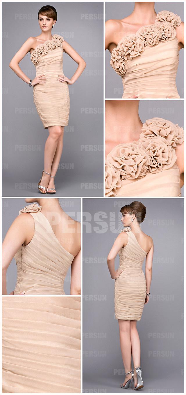Champagne one shoulder short flowers mother of the bride dress details