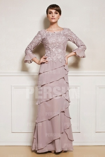 Dressesmall Ruffles Embroidery Long Sleeve Mother of the Bride Dress