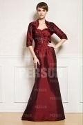 Red Tone Full Length Beading Mother of the Bride Dress With Jacket