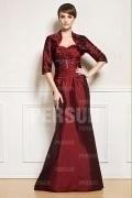 Schönes Rotes Trompete Herz Ausschnitt Langes Perle Abendkleid aus Taft