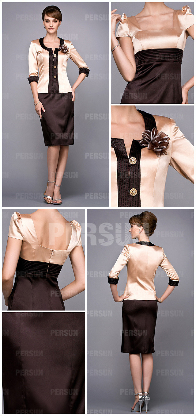 Champagne and brown square chiffon simple short mtoher of the bride dress details